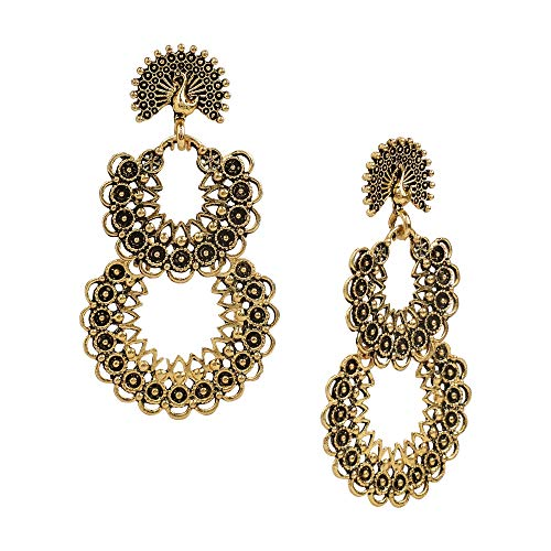 Bodha Antique Designer and Stylish Antique Gold Oxidised Gypsy Chandbali Earrings for Women (SJ_1752)
