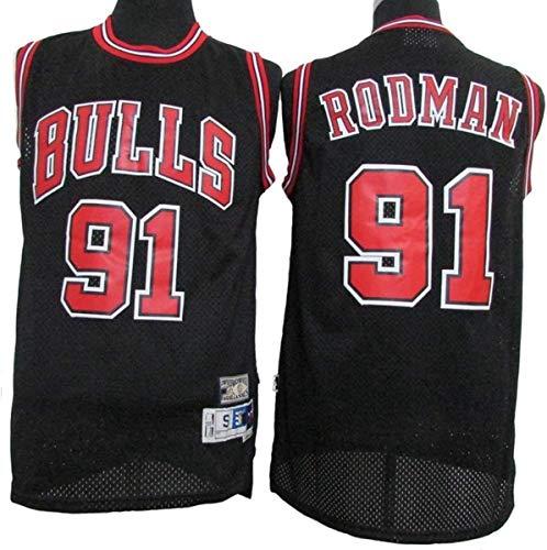 WSUN Maglia da Basket NBA da Uomo, Maglia NBA Chicago Bulls # 91 Dennis Rodman, Maglia da Fan Cool E Leggera Maglietta NBA Swingman,A,M(170~175CM/65~75KG)