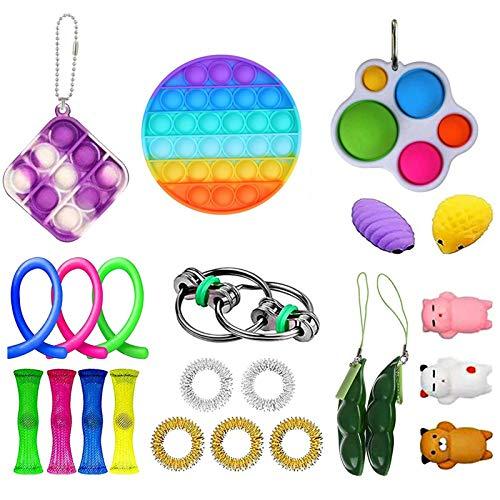 Kit De Juguetes Sensoriales, 23 Pack/Set Juguete Antiestres Pop-it Fidget Sensory Toys, Push Bubble Fidget Juguete Sensorial para Autismo Necesidades Especiales para Aliviar El Estrés