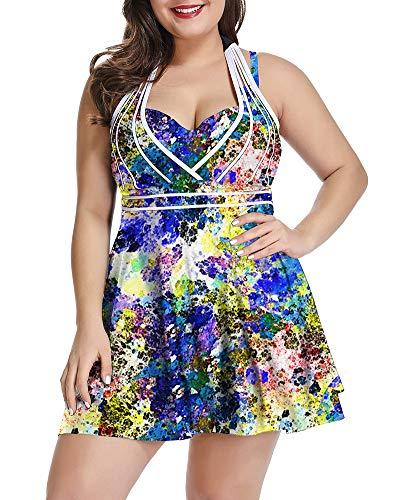 LALAGEN Womens Halter Swimdress Plus Size Two Piece Swimsuit Tankini Set Ink Blue XXL