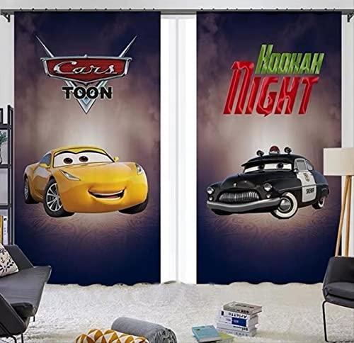 Cortinas opacas de coche McQueen de dibujos animados, dormitorio de niño, sala de estar, ventana panorámica, habitación de niños para niños y niñas, regalos 230(H)x140(W)Cmx2 Paneles / Set (B-556)