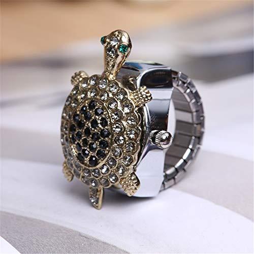 Reloj de pulsera con forma de tortuga con diamante, diseño de dibujos animados