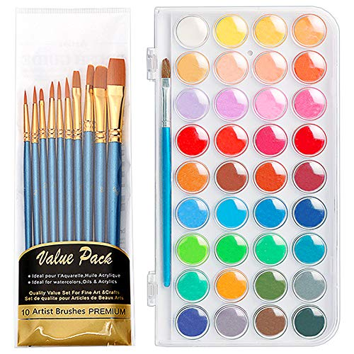 Deelife Watercolor Paint Set, 36 Colors Watercolor Paint Pan Set with 11 Paint Brushes, Portable Water Colors Paints Set for Kids & Adults Beginners, Artists Watercolor Painting Supplies