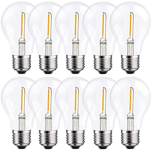 10 x LED Filament Glühbirne A60 1W fast 15W E27 klar warmweiß 2700K