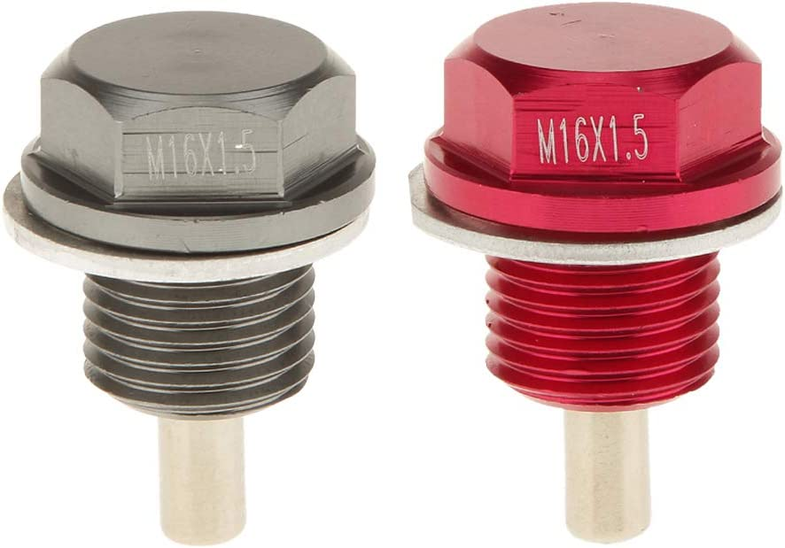 balikha Tap/ón de Drenaje de C/árter de Aceite del Motor Magn/ético Anodizado M16x1.5 de 2 Piezas para Subaru Gris Rojo