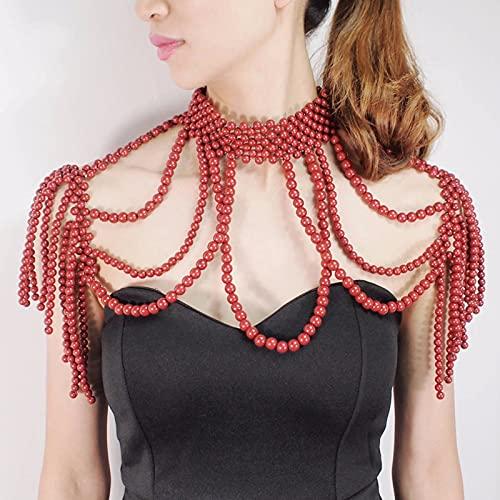Cadena De Hombro Pearl Shawl Collares Cuerpo Cadena Sexy Cuello Cuello Hombro...
