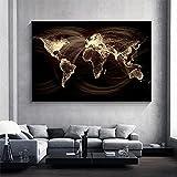 Mappa del mondo vintage pittura su tela stampa poster e stampa di arte della parete mappa nordica immagini per soggiorno immagini arredamento 50x75 cm (20x30 pollici) senza cornice