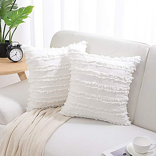 PiccoCasa 2 Pack Bohemia Decorative Cushion Covers, Tassel Striped Throw Pillow Covers, Solid Square Pillow Shams, Sofa Pillowcases for Bedroom Livingroom Home Decor, White 45 x 45cm