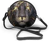 BAODANLA Bolso redondo mujer Serious Tiger Women Soft Leather Round Shoulder Bag Zipper Circle Purses Sling Bag