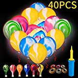 40 Pack LED Balloons | Upgraded Marble Design of Light Up Balloons | Ideal for Glow Party, Birthday Balloons Decor, Halloween Party, Dark Party | Includes Hand Held Balloon Pump, 10M Ribbon and Balloon Tying Tool.