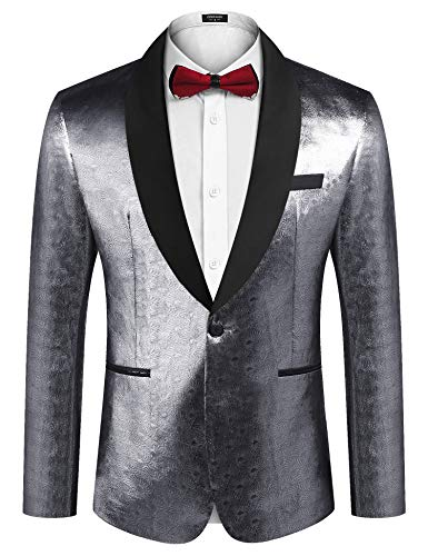 COOFANDY Men's Sequin Blazer Suit Jacket Slim Fit One Button Fashion Tuxedo Jacket for Dinner Party Wedding Prom Silver Gray