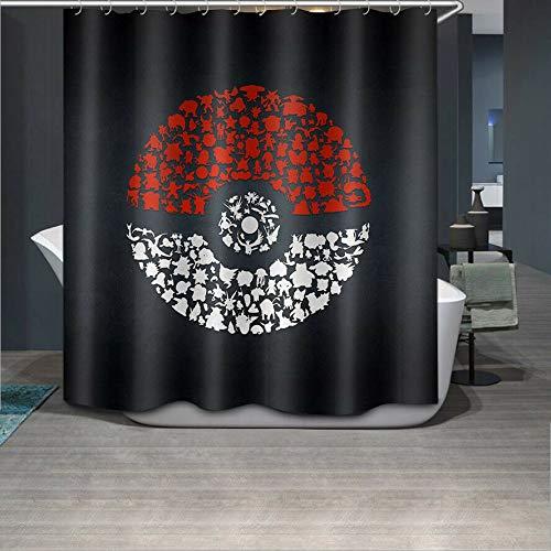 taquxinlaowan Badezimmer Polyester Duschvorhang mit 12 Haken-Pokemon Ball