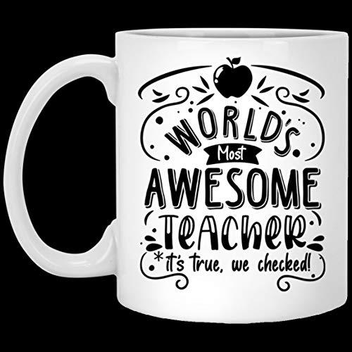 DKISEE Worlds Most Awesome Teacher Its True - Taza de café de cerámica, diseño de cerveza con texto en inglés 'Beer Stein' - Botella de agua - Taza cambiante de color