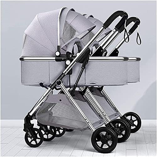 Cochecito combinado , Cochecito de cochecito con dosel de gran tamaño, cochecito doble para bebés y niños pequeños, cochecitos y sillas de nacimiento del nacimiento, arnés de 5 puntos y una alta cesta