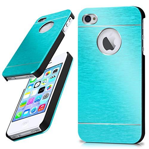 moex iPhone 4S   Hülle Dünn Türkis Aluminium Back-Cover Schutz Handytasche Ultra-Slim Handy-Hülle für iPhone 4/4S Case Metall Schutzhülle Alu Hard-Case