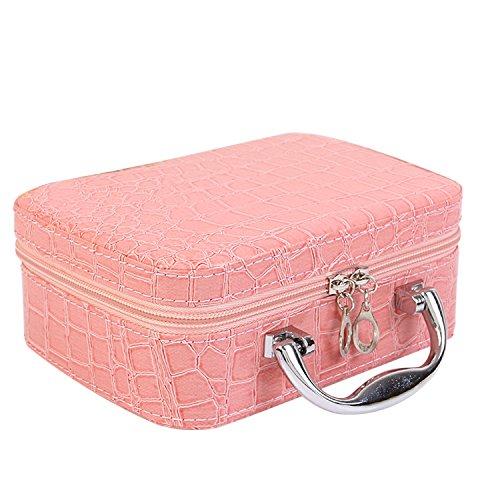 Vococal® PU Cuir Cosmétiques Maquillage Boîte Toilette Affaire Organisateur Stockage Sac avec Motif Crocodile Miroir Rose