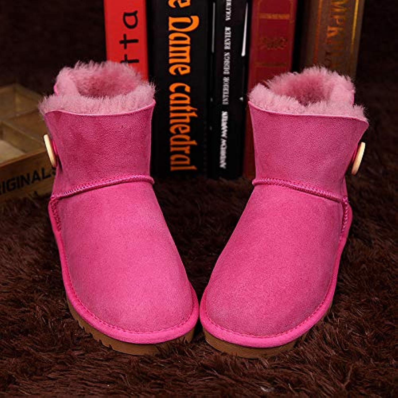 SWEAAY Stiefel Damen Schneestiefel Wildleder Plüschfutter Klassische Schnalle Stiefel Winter Rutschfeste Warme Baumwolle Schuhe