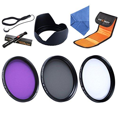 58mm UV Filtro Kit, K&F Concept UV Protector Filtro Polarizzatore + Petal Paraluce + Penna di Puliziaper + Panno di Pulizia + 3-slot Filtri Custodia/Borsa per SLR DSLR Camera