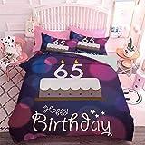 Hiiiman Juego de cama de edredón 3 piezas de ceremonia de cumpleaños con caligrafía de escritura a mano para tartas (3 piezas, tamaño King size, sin inserto)