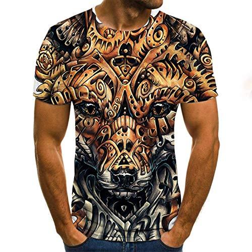 SSBZYES Camiseta para Hombre Camiseta De Manga Corta De Gran Tamaño para Hombre Camiseta De Cuello Redondo para Hombre Patrón Creativo Camiseta con Cabeza De Lobo Impresión Digital Camiseta De Manga