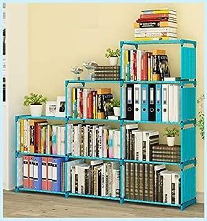 Kids Bookshelf 9-Cubes Book Shelf Office Storage Shelf Plastic Storage Cabinet, Blue