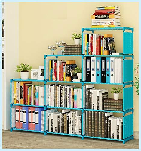 Binxin Bookshelf 4 Tier Shelf 9Cube Cabinet Bookcase Mueble para Libros Blue