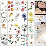 Limeow Mixto Tatuaje de Flor Kit de Etiqueta Tatuajes Temporales Impermeable Tatuajes de Cuerpo de Mixto Tatuajes pegatinas de arte corporal para adultos para adultos mujer 20 patrones diferentes