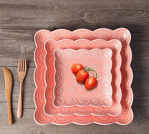 IKJN Piatto Fondo Colorato Set 3 Pezzi di Piatti da Pranzo in Ceramica da Matrimonio in Porcellana con Rilievo di Colore da 6/8/10 Pollici Set Party Rosso