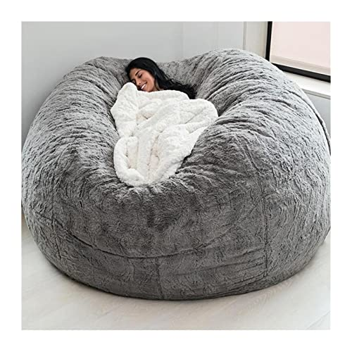 7ft Giant Bean Bag Cover, Suede Lazy Sofa Cover Adult Bean Bag Sofa Chair Extra Large Comfortable Cover Soft Fluffy Fur Portable Living Room Lazy Sofa Bed Cover No Filler ( Color : Light gray )