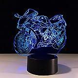 Luz de Noche 3D motocicleta Led Lámpara de ilusión óptica Luz Nocturna Dormir Lámpara 16 Colores de Control Remoto Dormitorio Regalos Cumpleaños Niños