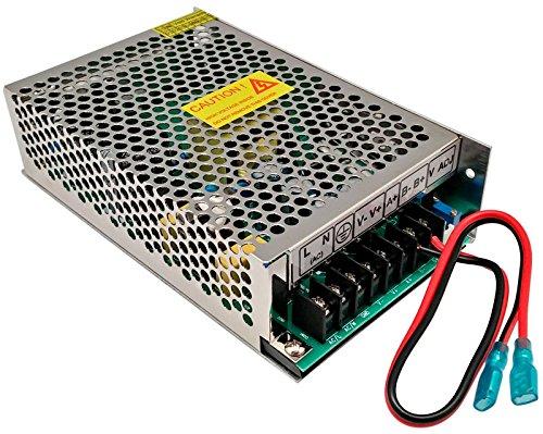 Euroconnex - Fuente de alimentación industrial 12V 10A especial para CCTV con circuito para conectar una batería