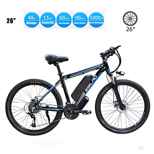 YMhome Bicicleta eléctrica, 26' Electric City E-Bici Bicicleta con 350W sin escobillas del Motor Trasero para Adultos, 36V / 13Ah batería extraíble de Litio,Black Blue