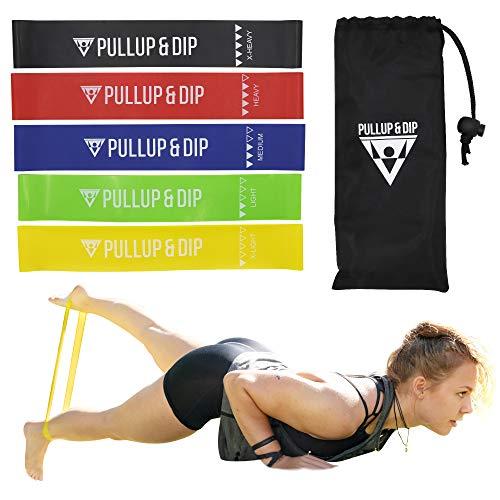 PULLUP & DIP Elastici Fitness, Set di 5 Fasce Elastiche + Borsa Trasporto, Bande Esercizio Resistenza, Mini Fasce per Gambe e Glutei, Loop Bands per Allenamento Muscolare, Yoga, Ginnastica, Pilates