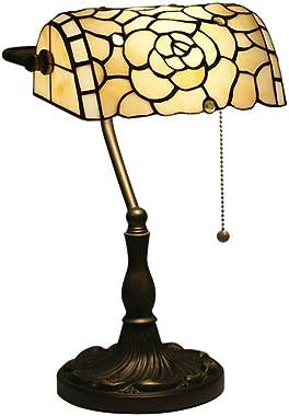 Tiffany Style Lampe de Banquier Lampe de Table Baroque Européenne Vitrail Lampes à poser Rétro Main Abat-jour Lampe de Bureau