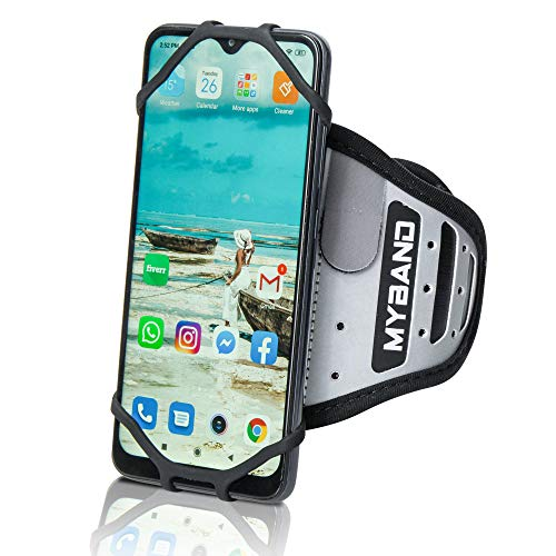 MyBand Arm Bands for Cell Phone - Workout Phone Holder - 360° Rotatable - Fits 4-6.5 Inch Smartphones - Adjustable Fit for Arm 5.9-12.5 Inch - Reflective Surface, Hidden Security Pocket