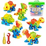 ToyVelt Dinosaur Take Apart Stem Toys for Boys & Girls Age 3 - 12 years old - (218 pieces) Pack of 6 Dinosaurs, With 12 Tools And a Useful Toy Storage Container