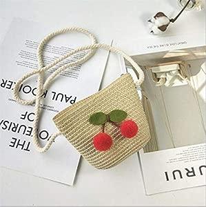 Lovely Toddler Kids Girls Straw Coin Purses Beach Messenger Bags Children Kids Girls Bear Floral Ball Shoulder Bag Handbag