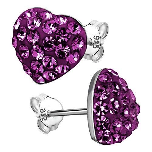 Materia Damen Ohrstecker Silber 925 lila violett - Herz Ohrringe Glitzer Stecker mit Box SO-149-V