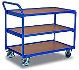 Tischwagen mit 3 Ladeflächen Traglast (kg): 250 Ladefläche: 985 x 590 mm RAL 5010 Enzianblau