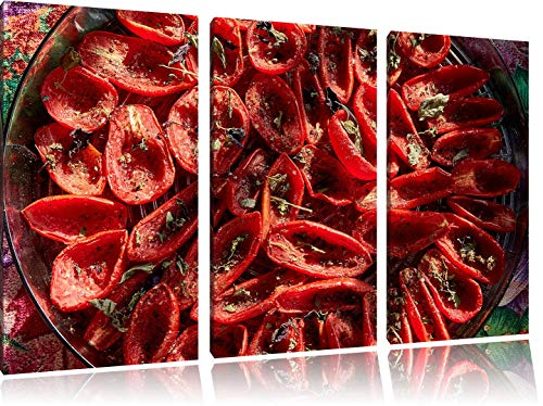 LLJFHRH New Sun-Dried Tomatoes with Olive Oil Basil and Herbs 3-Piece Canvas Picture 50Cmx90Cm Image on Canvas