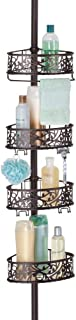 mDesign Bathroom Shower Storage Constant Tension Corner Pole Caddy - Adjustable Height, 4 Positionable Baskets - for Organizing and Containing Hand Soap, Body Wash, Wash Cloths, Razors - Bronze