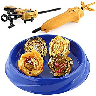 AKUJN-158-10-Bay Burst Metal Master Fusion Grip Gyro, 4X High Performance Tops Attack Set with Launcher