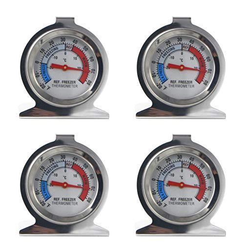 VOSAREA 4 pcs réfrigérateur thermomètre cadran type résistant à la corrosion thermomètre congélateur portable réfrigérateur en acier inoxydable pour la maison de magasin