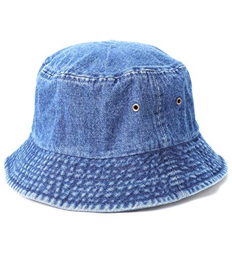 MIRMARU Vintage 100% Cotton Canvas Denim Bucket Hat - Casual Outdoor Fishing Hiking Safari Boonie Hat.(NH-1530-DARK Blue-SM)