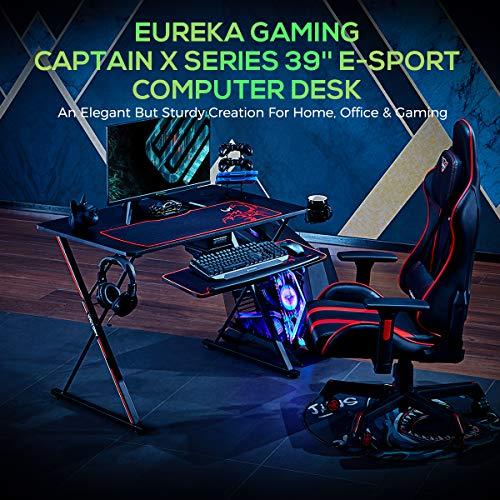EUREKA ERGONOMIC Gaming Tisch X39 Gaming Schreibtisch Klein Gaming Computertisch PC Schreibtisch mit Getränkehalter und Kopfhörerhalter 100 * 60 cm Schwarz 4