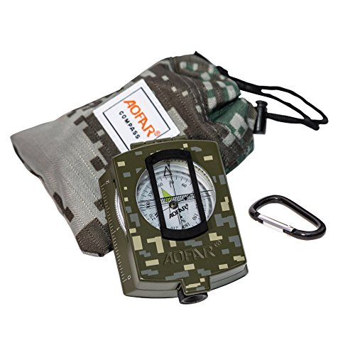 AOFAR Military Compass Lensatic Sighting Navigation, Waterproof and Shakeproof with Map Measurer Distance Calculator, Pouch for Camping, Hiking, Hunting, Backpacking
