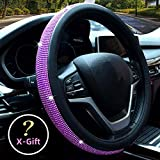 Valleycomfy Diamond Crystal Steering Wheel Cover for Women Girls- Bling Bling Rhinestones Steering Wheel Cover with Universal Fit 15 Inch(Purple Diamond)