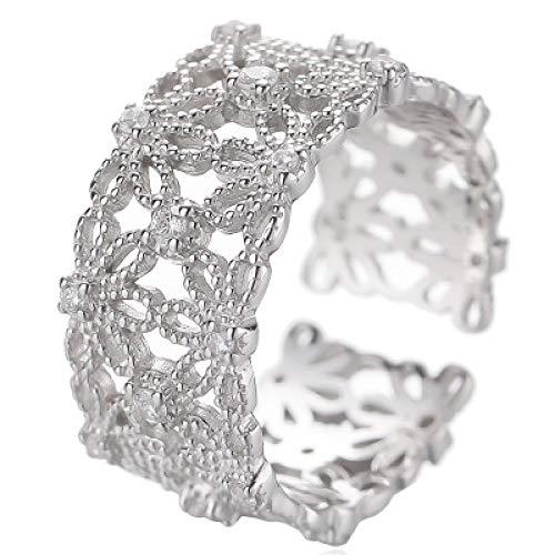 KUNZE Joyería de anillos para mujer, anillo de patrón de flor de encaje de moda simple de plata 925 Anillo de dedo índice ancho abierto