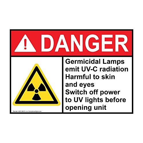 ComplianceSigns Danger Germicidal Lamps Emit UV-C Radiation ANSI Safety Label Decal, 5x3.5 in. Vinyl 4-Pack for Process Hazards Hazmat
