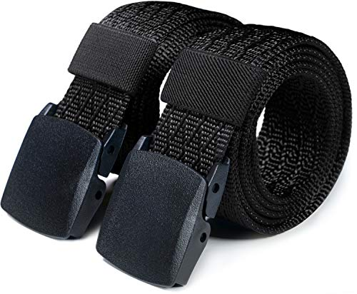 CQR Tactical Belt, Military Style Heavy Duty Belt, Lightweight Nylon Webbing EDC Buckle, 2pack Plastic Full Cover(mzt22) - Black/Black, L[w36-38]